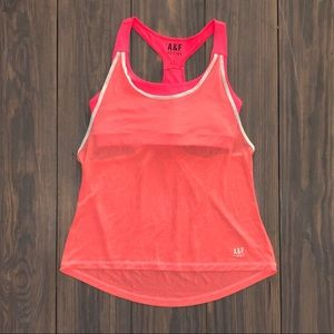 A&F Active Bright Coral Built in Bra Sports Tank M